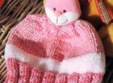 Hand Knitted Pink And White Bunny Winter Hat