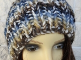 Hand Knitted Random Coloured Winter Hat With A Blue Pompom