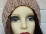 Hand Knitted Women's Camel Ribbed Winter Hat With Brown Pompom