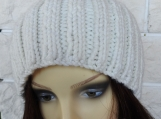 Hand Knitted Women's Cream Ribbed Winter Hat With Brown Pompom