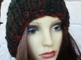 Hand Knitted Women's Dark Ribbed Winter Hat With Brown Pompom