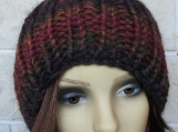 Hand Knitted Women's Ribbed Winter Hat With Light Brown Pompom