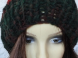 Hand Knitted Women's Winter Hat With Cream Faux Fur Pompom