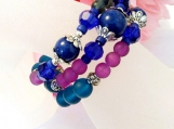 Lapis Lazuli Gemstone Bracelet, Multi Color Memory Wire Jewelry
