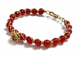 Red Jade Bracelet, Wire Wrapped Bracelet, Rose Accent Bracelet