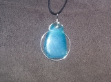 Teal Agate Pendant with Silver Plate Wire Wrap