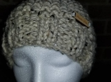Very warm chunky beanie in great earth tones of beige and brown