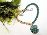 Abalone Hell Pendant Necklace, Aventurine Beaded Jewellery Sale