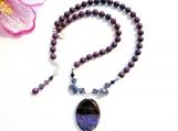 Amethyst Druzy Onyx Pendant Jasper Necklace, Briolette Crystals