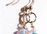 Blue Fire Agate Earrings, Blue Gemstone Earrings, Clear Crystal