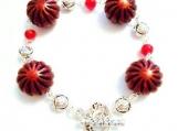Carnelian Gemstone Bracelet, Burgundy Bracelet, Rosette Jewelry