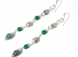 Chinese Jade Aventurine Earrings, Multi Gemstone Earrings