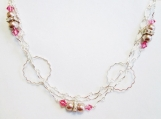 Circle Link Necklace, Pink Bead Necklace, Silver Link Necklace