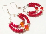 Coral Earring Chandelier, Gemstone Earrings, Crystal Earrings