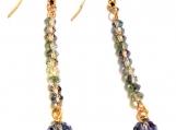 Denim Blue Earrings, Blue Earrings, Crystal Earrings, Dangle