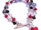 Double Strand Bracelet, Coral Bracelet, Crystal Bracelet, Heart