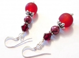 Glass Pearl Crystal Dangle Earrings, Glass Earrings, Burgundy