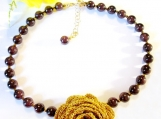 Gold Crocheted Flower Garnet Necklace, Gemstone Jewlery Dark Red