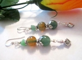 Green Aventurine Earrings, Mixed Gemstone Jewelry, Jade Nugget