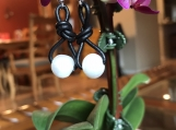 Handcrafted BoHo Chic Pearl And Leather Earrings