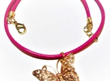 Hot Pink Leather Choker, Gold Butterfly Pendant Filigree Jewelry
