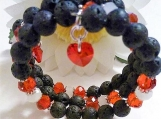 Lava Rock Bracelet, Lava Rock Beads, Lava Rock Jewelry, Black