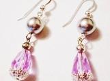 Lavender Blue Earrings, Teardrop Dangle Earrings, Crystal Pearl