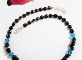 Midnight Blue Goldstone, Black Onyx Necklace, Jewelry on Sale
