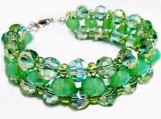 Mint Green Jewelry, Woven Crystal Bracelet, Big Crystal Bracelet