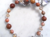 Multi Gemstone Beaded Bracelet, Mookaite Jasper Beads Bracelet