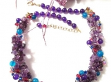 Multi Gemstone Necklace, Amethyst Bead Necklace, Purple Bead