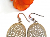 Oval Earrings, Gold Earrings, Filigree Earrings, Latice Design