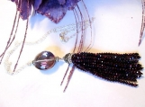 Purple Tassel Necklace, Crystal Tassel Necklace, On Sale