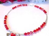 Red Crystal Choker, Heart Cham Choker, Choker for Women, Crystal