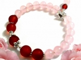 Rose Quartz Bracelet, Pink and Burgundy Bracelet, Memory Wire