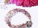 Rose Quartz Pearls and Crystals Bracelet, Pink Gemstone Bracelet