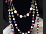 3 Strand Necklace, Red, White, Blue, Pale Yellow