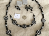 Black & Silver Necklace, Bracelet & 2 pierced earrrings Set