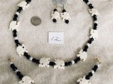 Black & White Necklace,Bracelet and Earing Elephant set
