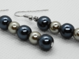 Blue and Cream Pearl Drop Earrings