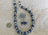 Blue and White Necklace & Earing Set