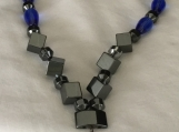 Blue Hematite Necklace/ with matching earrings