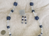 Blue / White Necklace with Earrings