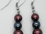 Burgundy and Blue Drop Earrings