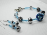 Chunky Blue and Silver Crystal Rhinestone Bracelet Set