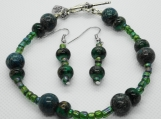 Forest Moss Beaded Bracelet and Earring Set