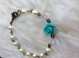 Handcrafted Pearl and Turquoise Rose Bracelet