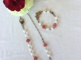 Handcrafted Swarovski Cream Pearl With Pink Rosebud Necklace And