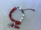 Handcrafted Swarovski Pearl And Red Coral  Set