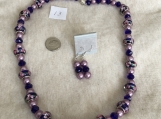Navy Blue & Purple Necklace & Earring Set